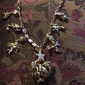 Kirks Folly Cherub Necklace w/Ring Charm Holder